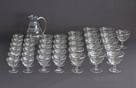 A collection of Art Deco silver rim overlaid ribbed bowl footed cocktail glasses, the bowls