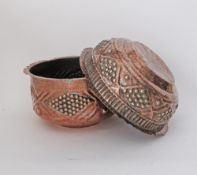 Two Armenian / Middle Eastern / Turkish copper cauldrons hand crafted with repousse decoration.