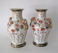 A pair of Chinese Satsuma style porcelain vases, late 20th/ early 21st century. H36.5cm. (2)