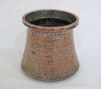 An antique Armenian / Islamic / Ottoman / Turkish copper cauldron engraved allover with geometric