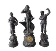 Xavier Raphanel (French 1876-1957) A spelter figural mantle clock garniture, depicting a