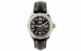 Breitling Chronometre Ref. B49350 Automatik 750/- Gelbgold/Edelstahl mit Lederband
