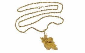 Königskette mit Anhänger 750/- Gelbgold Länge 59,00 cm