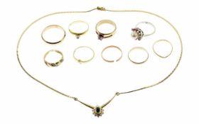 Konvolut Schmuck 585/- Gelbgold und Weißgold mit Perle und Farbsteinen 9 Ringe Ringgröße 53 - 68