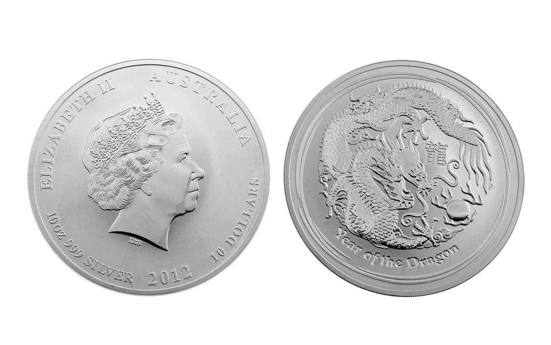 Los 105 - Münze 10 Dollars 999,9/- Feinsilber 10 Unze 311,60 g Elizabeth II Australia Year of the Dragon