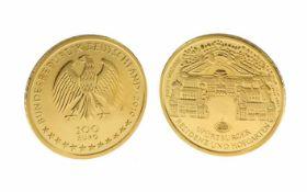 Münze 100 Euro 999,9/- Gelbeold 1/2 Unze 15,55 g Würzburger Residenz und Hofgarten Prägejahr 2010
