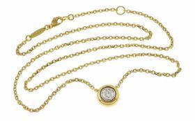 Collier 750/- Gelbgold 8,37 g mit 1 Diamant ca. 0,50 ct. G/p3 Länge 45,00 cm