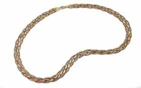 Collier 585/- Gelbgold Weißgold und Rotgold 18,31 g Länge 44,00 cm