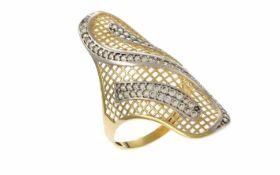 Ring 585/- Gelbgold und Weißgold 4,58 g mit Zirkone Ringgröße 61