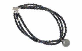 Steinarmband mit Tahiti - Perle mit 925/- Silber Schließe Länge 20,00 cm 3 Reihig