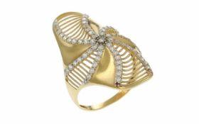 Ring 585/- Gelbgold 4,0 g mit Zirkone Ringgröße 60