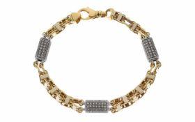 Armband 750/- Gelbgold und Weißgold mit Zirkonen 34,40 g Länge 23,00 cm