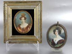 Konvolut Miniaturen2 Stk. Miniaturen, wohl auf Elfenbein, Portraits zweier Damen je mit