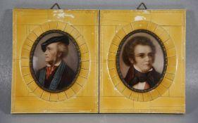 Paar Miniaturenwomöglich mit Elfenbein, Portraits Wagner u. Schubert, Gebr.sp., H. 14
