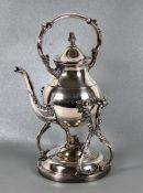 Teekanne auf StövchenF.B. Rogers, versilberte Teekanne auf Stövchengestell mit Brenner, gemarkt,