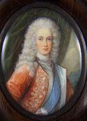 MiniaturMiniatur, wohl Elfenbein, ovales Portrait eines jungen Königs mit weißer Alonge-Perücke,