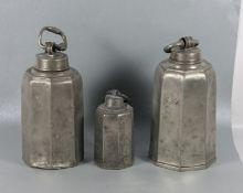 Konvolut Zinn-Schraubflaschen19. Jhd., 3 Stk. je 8seitige Schraubflaschen, Zinn, je mit Name oder