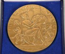 Lenoir-Medaille Bronze, schwere Medaille, Entwurf P. Lenoir, Ville de Nice Mediterranee, Front mit