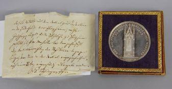 Erinnerungsmedaille Schlacht bei Wimpfen1834, seltene Erinnerungsmedaille Silber, die von Großherzog