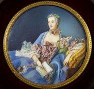 Miniaturrunde Miniatur auf womöglich Elfenbein, farbiges Bildnis der Madame Pompadour, in