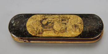 antikes Futteral mit Brille19. Jhd., Brillenfutteral mit fein gezeichneten Szenen, mit antiker