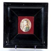 Miniatur Napoleon19. Jhd., ovale Portraitdarstellung Napoleons, wohl Elfenbein, stark berieben, H.