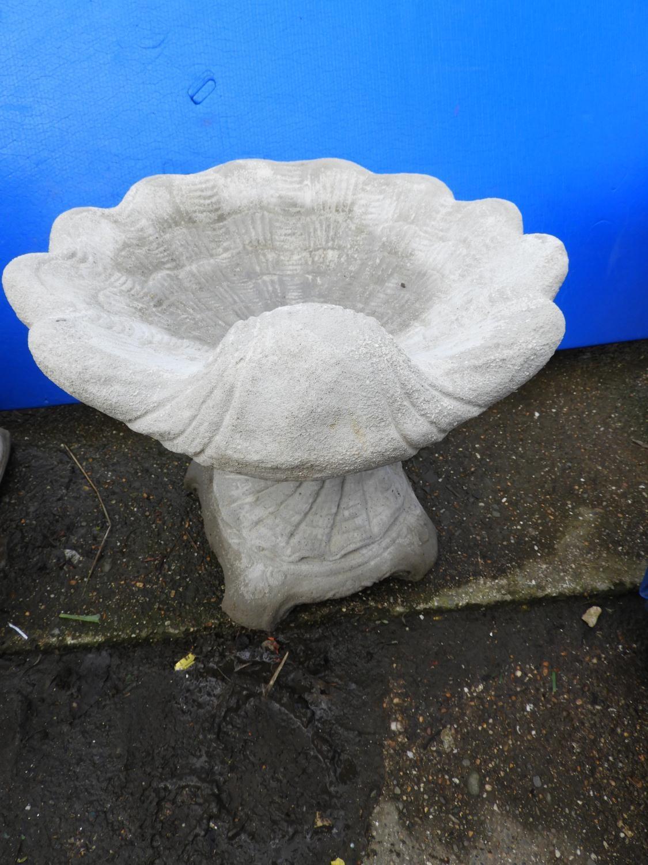 Lot 40 - Concrete Garden Bird Bath - Shell Design