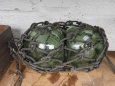 Glass Buoys in Rope Netting