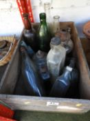 Wooden Box and Contents - Old Bottles etc