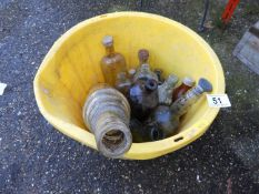 Builders Bucket and Contents - Old Bottles