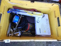 Box of Misc - Twin Lever Kitchen Mixer Tap, Heater Thermostat and Extension Leads etc