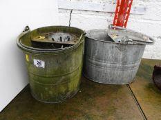 2x Galvanised Mop Buckets