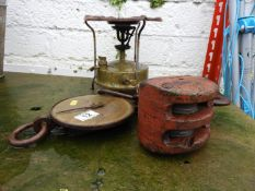 Brass Stove, Spring Balance and Pulley Wheel