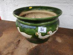 Glazed Garden Planter - Ducks
