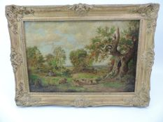 Gilt Framed Oil on Canvas Marked to Verso - A Scene in Sherwood Forest Dated 1890 - Indistinct