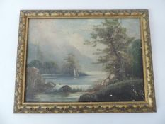 Gilt Framed Oil on Canvas - River Scene - Visible Picture 34cm x 25cm