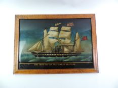 Reverse Painting on Glass in Walnut Frame - The Iron Steam Ship Great Britain - Visible Picture 40cm