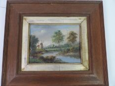 Framed Oil on Board - Windmill on River Bank - Visible Picture 23cm x 17cm
