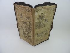 Folding Two Panel Screen with Hand Painting to One Side and Silk Embroidery to Other - 77cm High