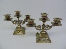 Pair of Victorian Heavy Brass Three Branch Candelabras - 20cm High