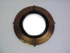 Brass Framed Circular Convex Mirror