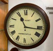 Victorian Schoolroom Wall Clock - H P Hunt, Barnstaple - 35cm Dial - Heard Running with Key