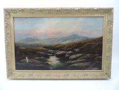 Gilt Framed Oil on Canvas - Moorland Scene - Visible Picture 75cm x 45cm