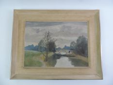 Framed Canvas Oil on Board - A Stretch of the Loddon by James Page Roberts - Visible Picture 39cm