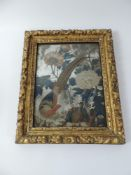 18th Century Chinese Export Reverse Painted Mirror in Gilt Frame Plate - Measurements 24.5cm x 32.