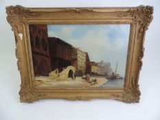 Gilt Framed Oil on Canvas - Venice - W. Pritchard - Visible Picture 48cm x 32cm