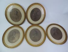 Set of 5x Pastel Portraits of Schuster Family in Oval Gilt Frames - 64cm High Artist Anthony De