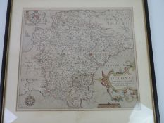 Hand Tinted Map of Devonshire - Visible Picture 35cm x 31cm
