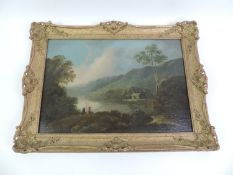Framed Oil on Canvas - Valley Scene with Couple Fishing in the Foreground - Considered by the