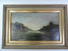 Gilt Framed Oil on Canvas - Early Morning on the Teign 1885 - Signed and Dated to Verso - Old Repair